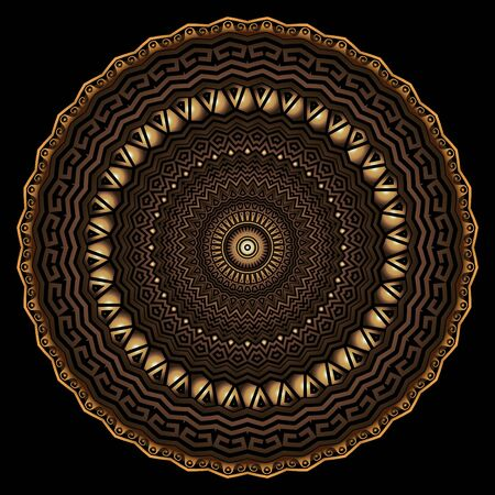Gold 3d geometric greek  round mandala pattern. Ornamental textured abstract floral background. Surface texture. Ancient greek key meander luxury ornament. Metallic golden flower. Zigzag design
