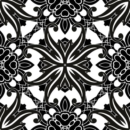 Floral vintage seamless pattern. Ornamental elegant background. Damask ornament. Elegance ethnic flowers, leaves, abstract shapes. Ornate monochrome design for wall, print, cards, fabric  イラスト・ベクター素材