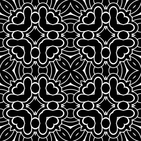 Floral beautiful seamless pattern. Ornamental elegant background. Line art ornament. Vintage flowers, leaves, abstract shapes. Ornate monochrome design for wall, print, cards, fabric