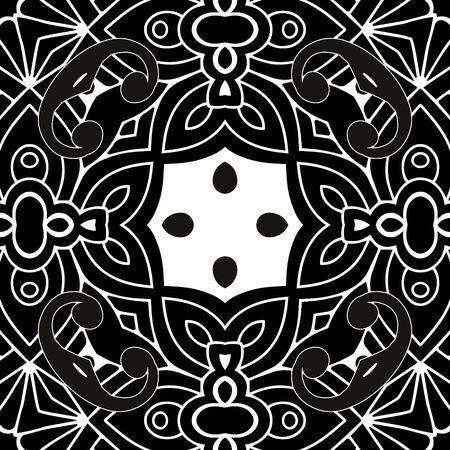 Floral beautiful  pattern. Ornamental elegant background. Line art ornament. Vintage flowers, leaves, abstract shapes. Ornate monochrome design for wall, print, cards, fabric