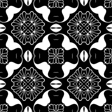 Floral Paisley seamless pattern. Ornamental elegant background. Line art ornament. Vintage flowers, leaves, abstract shapes. Ornate monochrome design for wall, print, cards, fabric