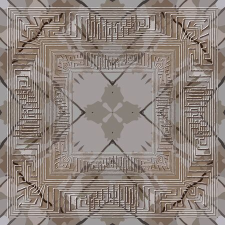 Textured abstract grunge  pattern. Greek frames ornamental background. Repeat rough spotted backdrop. Modern ornaments. Geometric symmetrical design. Greek key meanders. Dirty texture
