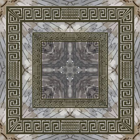 Textured abstract grunge  pattern. Greek square frames background. Repeat rough marble style backdrop. Mazes ornaments. Geometric design. Greek key meanders. Dirty endless texture