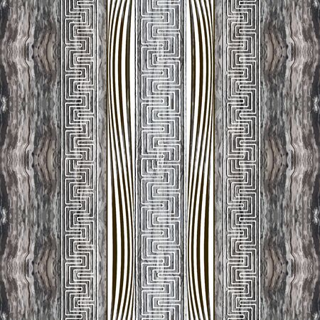 Wood textured abstract greek borders seamless pattern. ornamental grunge background. Repeat rough backdrop. Greek key meanders modern ornaments. Dirty endless texture. Vertical stripes, mazes Illustration