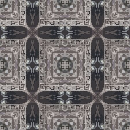 Textured abstract grunge seamless pattern. Greek square frames background. Repeat rough tartan backdrop. Modern ornaments. Geometric plaid design. Greek key meanders. Dirty endless texture