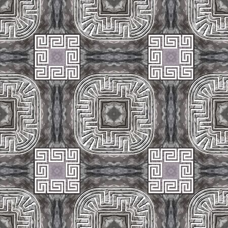 Textured abstract grunge seamless pattern. Greek square frames background. Repeat rough grungy backdrop. Modern ornaments. Geometric trendy design. Greek key meanders. Dirty endless texture Illustration