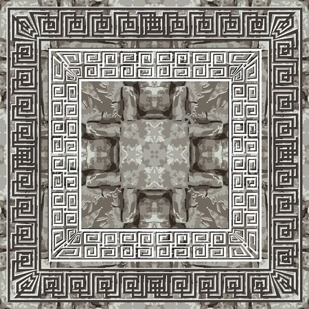 Textured abstract grunge seamless pattern. Greek square frames background. Repeat rough stone style backdrop. Mazes ornaments. Geometric design. Greek key meanders. Dirty endless texture