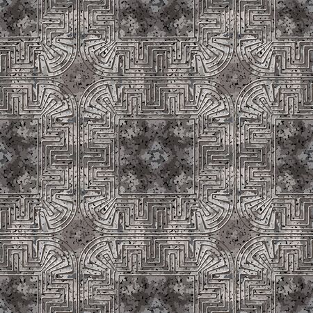 Textured abstract grunge seamless pattern. Greek frames ornamental background. Repeat rough stippled backdrop. Modern ornaments. Geometric design. Greek key meanders. Dirty dotted texture