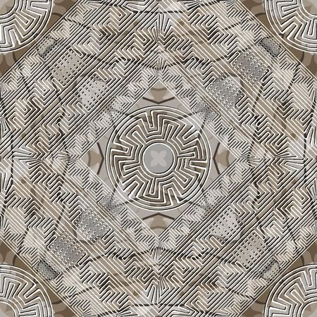 Textured abstract grunge seamless pattern. Greek background. Repeat rough backdrop. Modern ornaments. Geometric design. Greek key meanders maze frames, circles, rhombus. Dirty endless texture