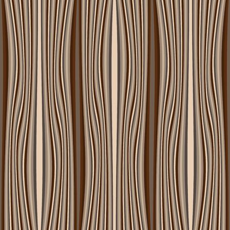 Timber textured vector seamless pattern. Wave lines wooden background. Repeat striped backdrop. Decorative patterned design. Ornate modern ornament. Vertical stripes, waves. Material. Endless texture
