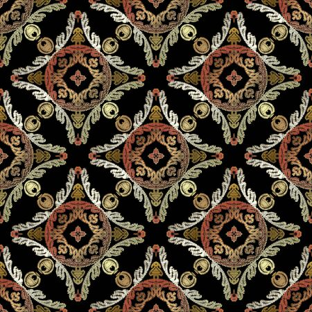 Embroidery baroque vector seamless pattern. Colorful floral grunge mandalas background. Tapestry wallpaper. Lace damask flowers, leaves, textured baroque ornaments. Embroidered ornate gobelin texture.
