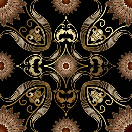 Vintage gold 3d vector seamless pattern. Floral ornamental elegance background. Repeat Damask backdrop. Arabesque ornaments. Golden flowers, mandalas, lines, swirls, leaves. Luxury ornate design.