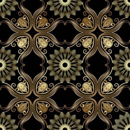 Vintage gold 3d vector seamless pattern. Floral ornamental elegance background. Repeat Damask backdrop. Arabesque ornaments. Golden flowers, mandalas, lines, swirls, leaves. Luxury ornate design. Foto de archivo - 149098335