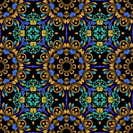 Floral colorful vintage seamless pattern. Damask Baroque style mandalas background. Repeat ethnic backdrop. Round flowery mandalas. Bright flowers, leaves, shapes, frames. Ornate modern ornaments. Foto de archivo - 149158120