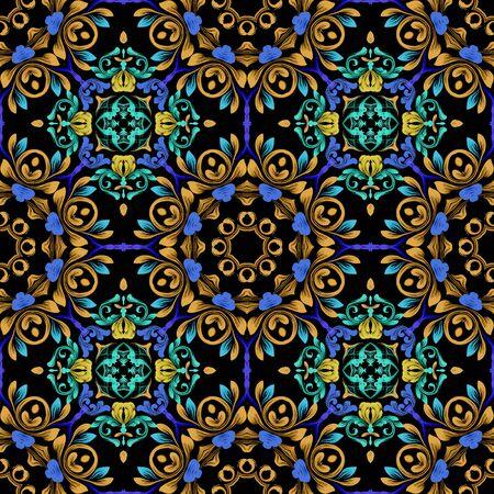Floral colorful vintage seamless pattern. Damask Baroque style mandalas background. Repeat ethnic backdrop. Round flowery mandalas. Bright flowers, leaves, shapes, frames. Ornate modern ornaments. Foto de archivo - 149158174