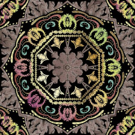Textured floral vector seamless pattern. Colorful tapestry background. Repeat grunge tribal ethnic backdrop. Embroidered flowers. Indian style ornament. Carpet embroidery texture with lines, flowers.