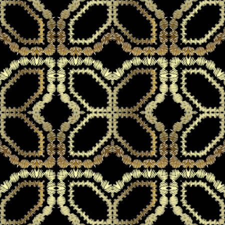 Textured gold vector seamless pattern. Arabian tapestry background. Repeat grunge tribal ethnic backdrop. Embroidered arabesque ornament. Stitching embroidery golden texture with zigzag lines, shapes. Vecteurs