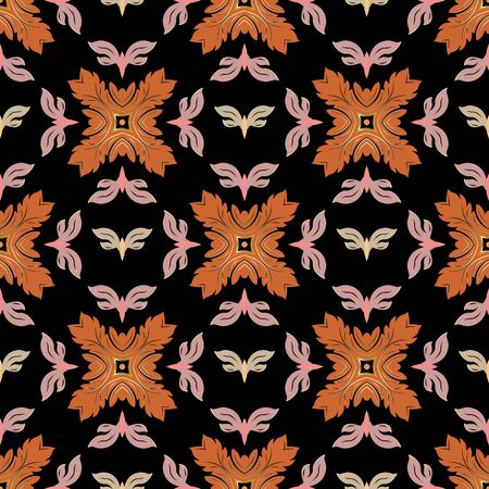 Vintage colorful floral vector seamless pattern. Ornamental baroque style background. Ornate flowers, leaves, shapes. Patterned flourish design for fabric, prints, wallpapers. Vector Illustratie