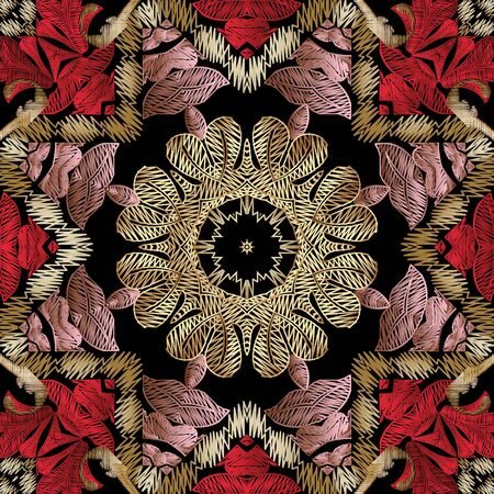 Embroidery floral vector seamless pattern. Baroque ornaments. Colorful grunge background. Tapestry wallpaper. Arras damask flowers, leaves, frames.  Embroidered texture. Textured ornamental design.