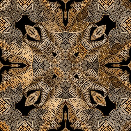Embroidery floral vector seamless pattern. Baroque ornaments. Gold grunge background. Tapestry wallpaper. Gobelin damask flowers, leaves. Embroidered texture. Stitching textured ornamental design.