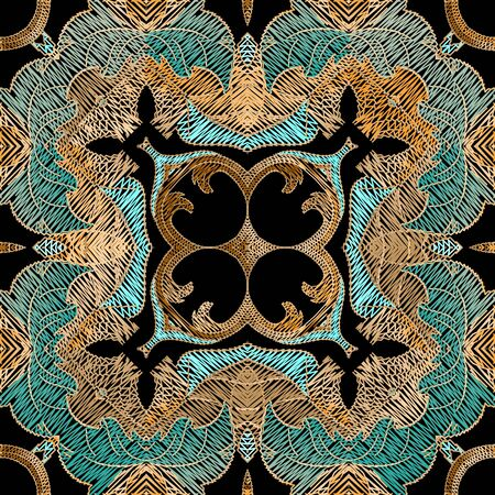 Embroidery floral vector seamless pattern. Baroque ornaments. Colorful grunge background. Tapestry wallpaper. Arabic style damask flowers, leaves. Embroidered texture. Textured ornamental design. Ilustrace