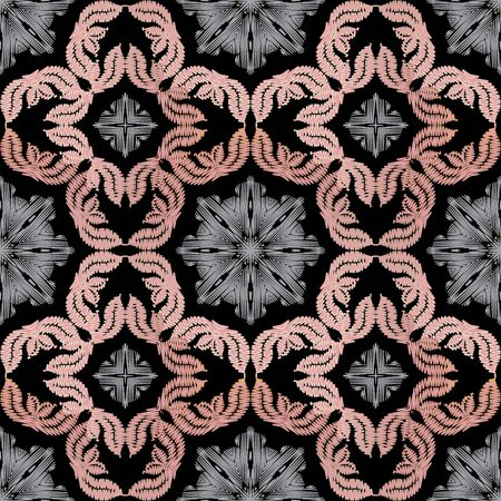 Embroidery floral vector seamless pattern. Baroque ornaments. Colorful grunge background. Tapestry wallpaper. Embroidery damask flowers, leaves. Embroidered texture. Textured design. Stitching effect.
