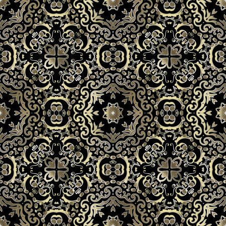 Gold Baroque vector seamless pattern. Ornamental Damask background. Rpeat ornate backdrop. Luxury floral ornaments with vintage golden flowers, leaves. Beautiful elegant design for fabric, wallpapers.
