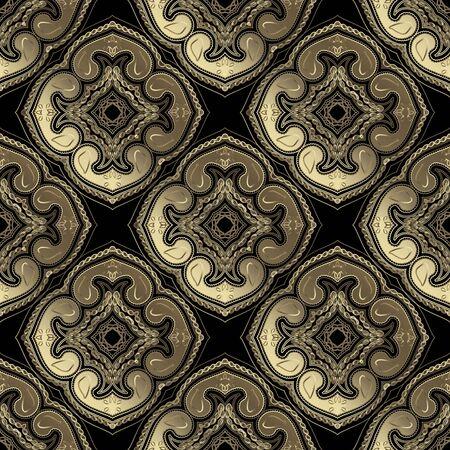 Gold Paisley floral seamless pattern. Arabesque vector background. Ethnic arabic style mandalas. Oriental elegance line art ornaments. Golden paisley flowers, leaves, lines. Beautiful ornate design. Ilustrace