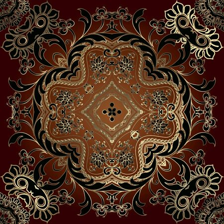 Gold Baroque floral seamless pattern. Damask vector background. Repeat patterned backdrop. Vintage elegance line art ornaments. Golden flowers, leaves, lines, shapes. Beautiful ornate luxury design.