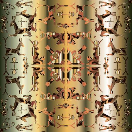 Egyptian seamless pattern. African tribal ethnic vector background. Abstract shapes, sphinx, pharaoh,  hieroglyphs, symbols, signs, animals. Geometric kaliidoscope ornament. Modern decorative design. Archivio Fotografico - 150750486