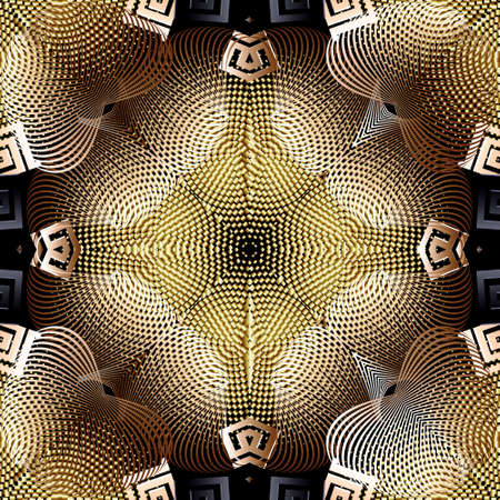 3d fractals vector seamless pattern. Modern abstract patterned greek background. Textured grunge ornaments. Geometric shapes, halftones, lines, stripes, circles,  greek key, meanders. Luxury design.