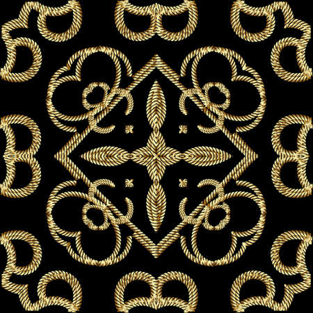 Textured gold 3d ropes seamless pattern. Tapestry floral vector background. Embroidery vintage flowers, lines, swirls. Grunge endless texture. Embroidered ornament. Modern beautiful ornate design.