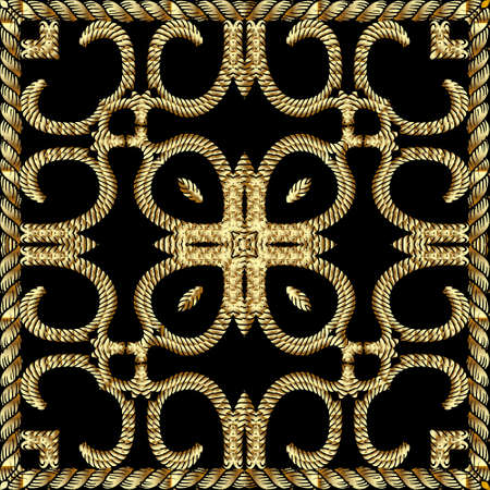 Textured gold 3d twisted ropes seamless pattern. Tapestry floral vector background. Embroidery vintage flowers, lines, square frame, borders. Grunge texture. Embroidered ornament. Luxury design.