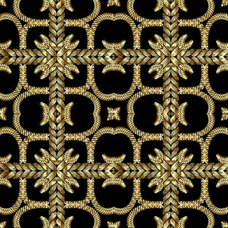Textured gold 3d twisted ropes seamless pattern. Tapestry floral vector background. Embroidery vintage flowers, lines, swirls. Grunge texture. Embroidered plaid tartan style ornaments. Luxury design.