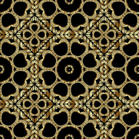 Textured gold 3d ropes seamless pattern. Tapestry floral vector background. Embroidery vintage flowers, lines, swirls. Grunge endless texture. Embroidered ornament. Modern beautiful luxury design.