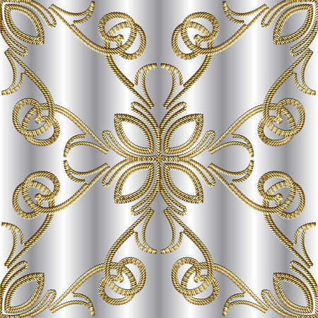 Textured gold 3d seamless pattern. Tapestry floral vector silver background. Embroidery vintage flowers, lines, swirls. Grunge texture. Embroidered ropes ornament. Modern beautiful luxury design. Vettoriali