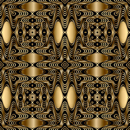 Gold lines 3d seamless pattern. Line art patterned ornamental abstract background. Gold wavy lines ornament. 3d wallpaper. Floral repeat design with lines flowers. Surface ornate lace texture.