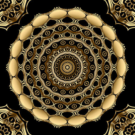 Floral lacy line art seamless mandalas pattern. Round gold lines 3d ornaments. Vector ornamental background. Repeat elegance decorative backdrop. Beautiful ornate modern design. For wallpapers, prints