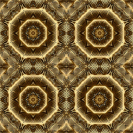 Gold lines 3d seamless pattern. Line art patterned ornamental grid background. Gold intricate lines vintage ornaments. 3d wallpaper. Floral repeat design with lines flowers. Luxury lace texture. Vettoriali