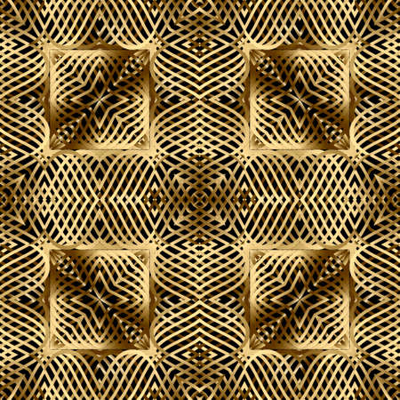 Gold lines 3d seamless pattern. Line art patterned ornamental grid background. Gold wavy lines abstract ornament. 3d wallpaper. Floral repeat design with lines flowers. Surface ornate lace texture.