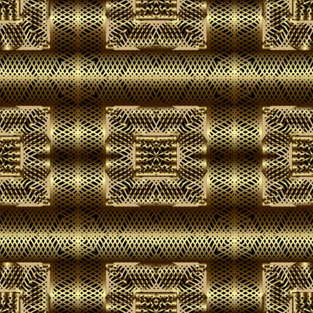 Gold lines 3d seamless pattern. Line art patterned ornamental grid background. Gold wavy lines abstract ornament. 3d wallpaper. Plaid repeat design with intricate lines. Surface vector lace texture.