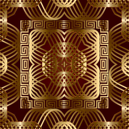Greek style gold lines 3d seamless pattern. Vector ornamental geometric background. Greek key meander square frames, borders. Line art curves intricate elegant ornaments. Luxury ornate repeat design.