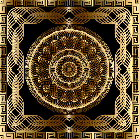 Gold lines 3d mandalas seamless pattern. Vector ornamental geometric background. Greek key meander square frames, borders. Line art round flowers ornament. Luxury ornate repeat modern design.