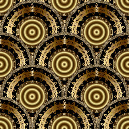 Gold 3d mandalas Deco seamless pattern. Vector ornamental geometric background. Greek key meander circles, frames, shapes. Line art round flowers tiled ornament. Luxury ornate repeat modern design.