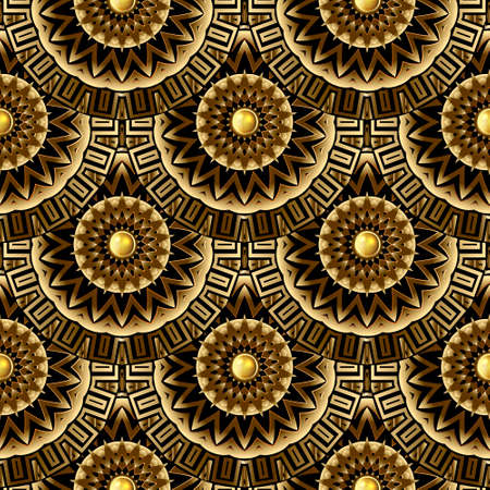 Gold 3d mandalas Deco seamless pattern. Vector ornamental geometric background. Greek key meander circles, frames, buttons. Line art round flowers tiled ornament. Luxury ornate repeat modern design.
