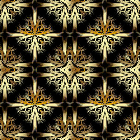 Floral gold seamless pattern. Vector ornamental 3d background. Textured repeat backdrop. Line art modern ornament. Abstract golden flowers, leaves, lines, shapes. Decorative ornate colorful design.