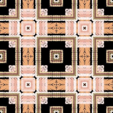 Textured tartan seamless pattern. Vector tapestry plaid background. Embroidery repeat checkered backdrop. Geometric striped ornament with stripes, squares, lines, shapes. Embroidered endless texture.