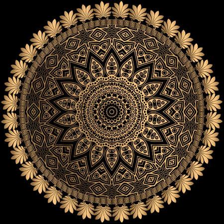 Gold line art floral greek mandala pattern. Floral ornamental luxury background. Greek key meanders round frame. Lines elegance ornaments with golden flowers, circles, curves, shapes. Ornate design. Illusztráció