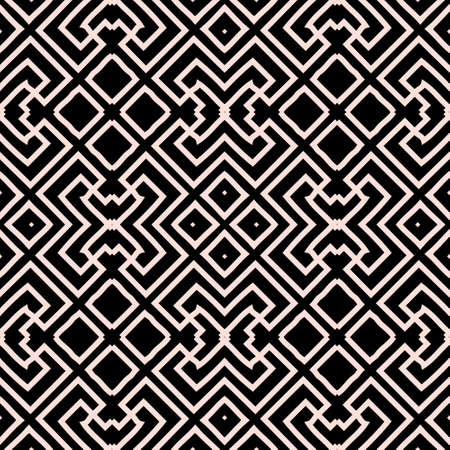 Geometric greek vector seamless pattern. Abstract tribal ethnic style background. Repeat trendy grid backdrop with lines, mazes, shapes. Greek key meanders geometrical modern ornaments. Template.