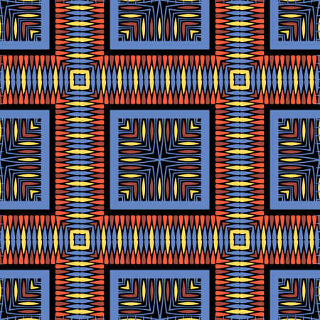 Tribal tartan vector seamless pattern. Ethnic ornamental abstract background. Geometric repeat decorative backdrop. Plaid colorful ornament. Abstract shapes, squares, zig zag lines. Design for fabric.